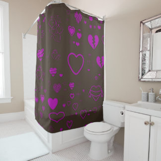 Cute Heart Modern Magenta Shower Curtain
