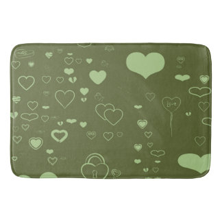 Cute Heart Modern Moss Green Pattern Bath Mat