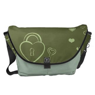Cute Heart Modern Moss Green Pattern Commuter Bags
