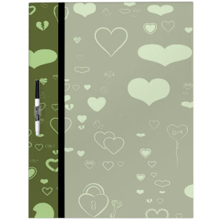 Cute Heart Modern Moss Green Pattern Dry Erase Board