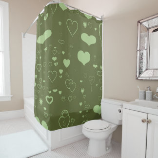 Cute Heart Modern Moss Green Shower Curtain