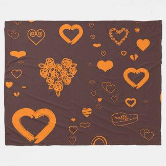 Cute Heart Modern Orange Pattern Fleece Blanket