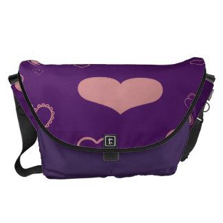 Cute Heart Modern Purple Pattern Commuter Bags