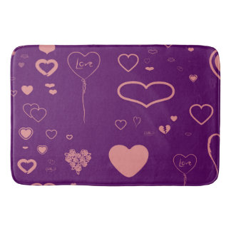 Cute Heart Modern Purple Pink Pattern Bath Mat