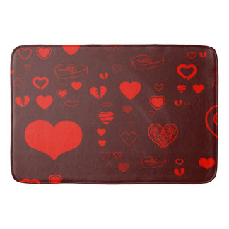 Cute Heart Modern Red Pattern Bath Mat