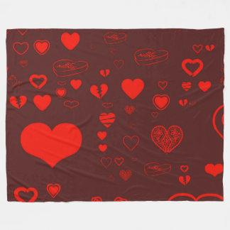 Cute Heart Modern Red Pattern Fleece Blanket