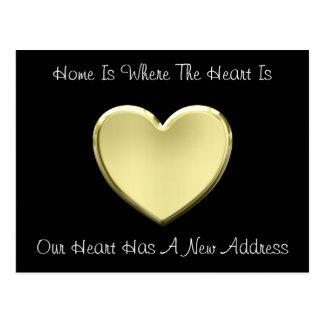 Cute Heart Of Gold New Address Postcard