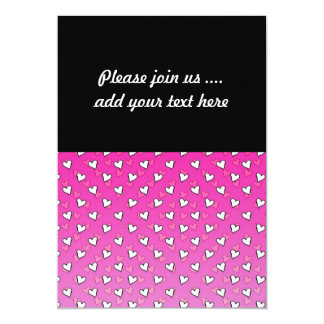 Cute Heart Pattern in Shades of Pink and White 13 Cm X 18 Cm Invitation Card
