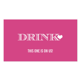 Cute Heart Pink Wedding Drink Ticket Pack Of Standard Business Cards