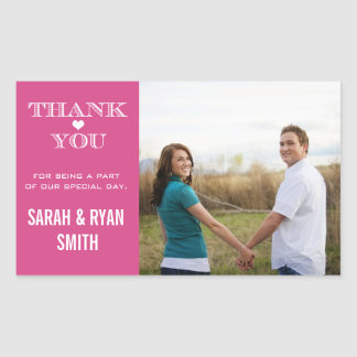 Cute Heart Pink Wedding Thank You Stickers
