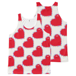 Cute heart print tank top