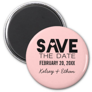 Cute Heart Save the Date Magnet, Black 6 Cm Round Magnet