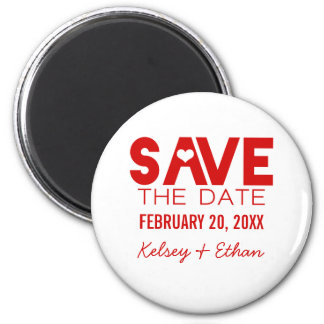 Cute Heart Save the Date Magnet, Dark Red 6 Cm Round Magnet