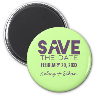 Cute Heart Save the Date Magnet, Eggplant 6 Cm Round Magnet
