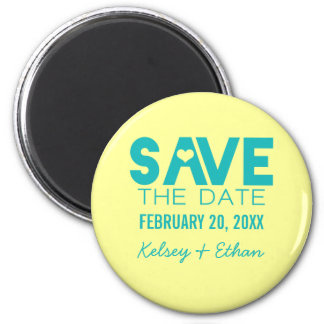 Cute Heart Save the Date Magnet, Turquoise 6 Cm Round Magnet