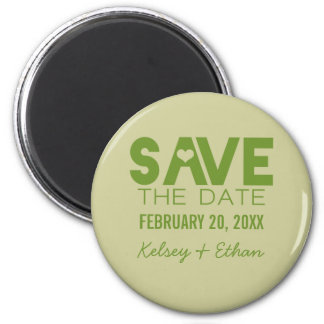 Cute Heart Typography Save the Date Magnet, Green 6 Cm Round Magnet