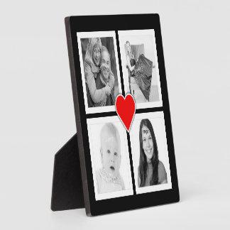 Cute Heart with Four Photos Custom Plaque