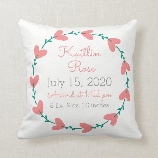 Cute Heart Wreath Birth Announcement Cushion