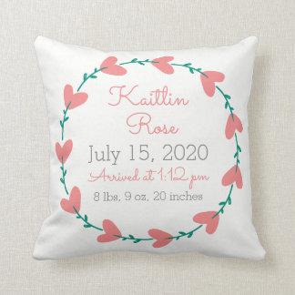 Cute Heart Wreath Birth Announcement Throw Pillow
