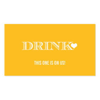 Cute Heart Yellow Wedding Drink Ticket Double-Sided Standard Business Cards (Pack Of 100)