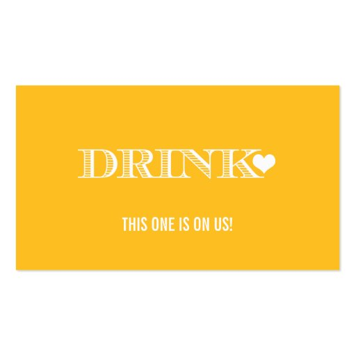 Cute Heart Yellow Wedding Drink Ticket Business Card
