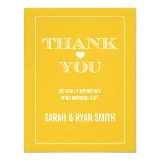 Cute Heart Yellow Wedding Thank You Cards 11 Cm X 14 Cm Invitation Card