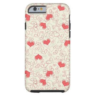 Cute Hearts Background Tough iPhone 6 Case
