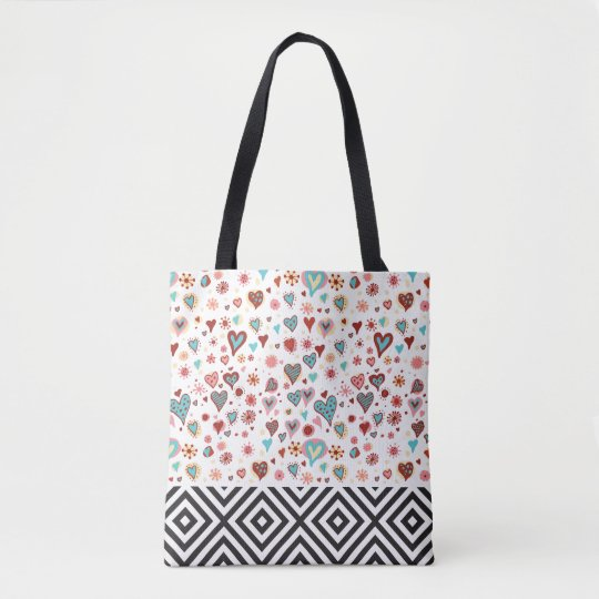 Cute Hearts & Black Geometric Pattern Tote Bag