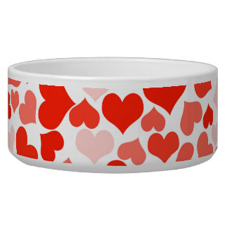 Cute hearts in shades of red pet bowl