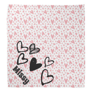 Cute hearts light pink personalized pet bandana