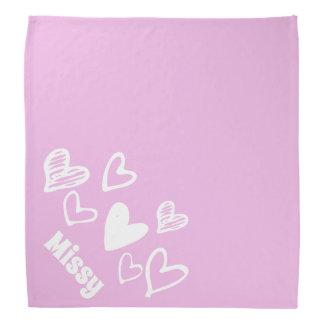Cute hearts light pink personalized pet bandana