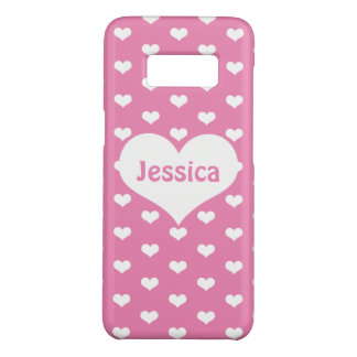 Cute Hearts on Pink Personalized Girly Name Case-Mate Samsung Galaxy S8 Case