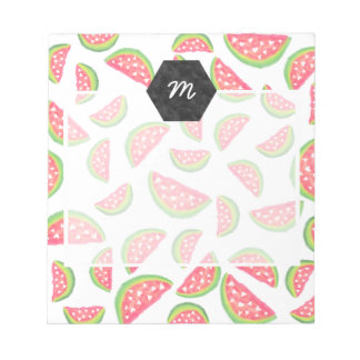 Cute hearts watercolor watermelon fruits pattern notepad