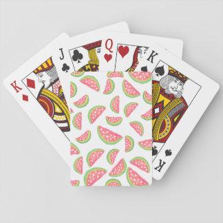 Cute hearts watercolor watermelon fruits pattern poker deck