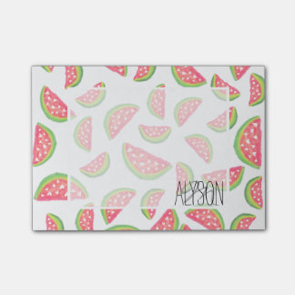 Cute hearts watercolor watermelon fruits pattern post-it® notes