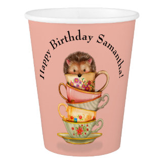 Cute Hedgehog and Colorful Teacups Birthday Party Paper Cup