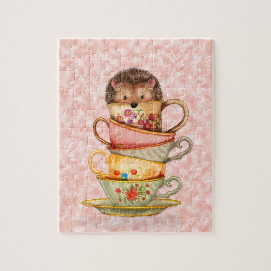Cute Hedgehog and Stack of Colourful Teacups Pink