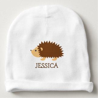 Cute hedgehog baby beanie hat with custom name
