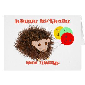 Cute hedgehog Birthday add name Greeting Card