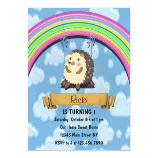 Cute Hedgehog Birthday Invitation