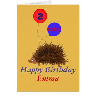 Cute hedgehog cartoon add name age greeting card