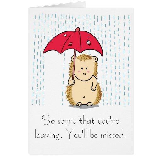 Cute hedgehog Cartoon Farewell Card | Zazzle