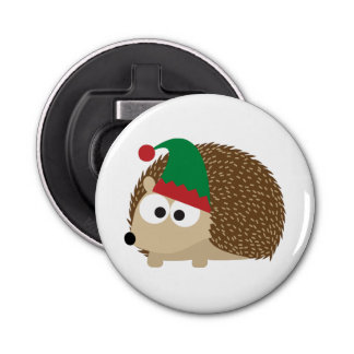 cute Hedgehog Christmas Elf Bottle Opener