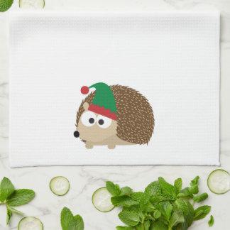 cute Hedgehog Christmas Elf Tea Towel
