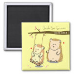 Cute Hedgehog couple at tree swing wedding favour Square Magnet