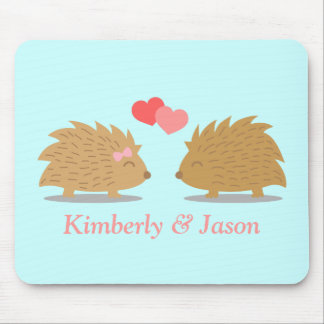 Cute Hedgehog Couple in Love Mouse Mat
