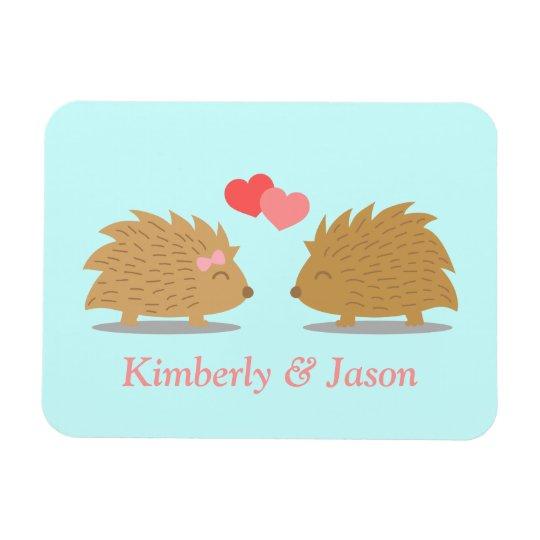 Cute Hedgehog Couple in Love Rectangular Photo Magnet