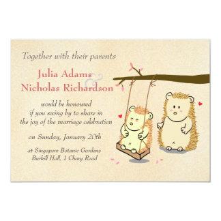 Cute Hedgehog Couple on Tree Swing Wedding Invite