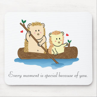 Cute Hedgehog couple sailing on wooden boat Mouse Mat