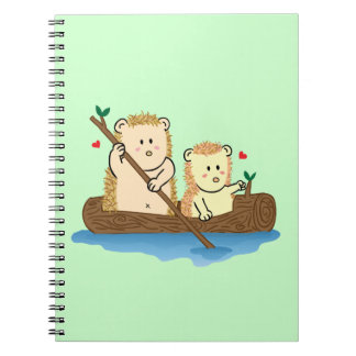 Cute Hedgehog couple sailing on wooden boat Notebook